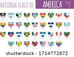 set of 35 heart shaped flags of ... | Shutterstock .eps vector #1714772872