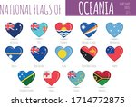 set of 14 heart shaped flags of ... | Shutterstock .eps vector #1714772875