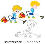 boy with a vacuum cleaner | Shutterstock .eps vector #171477725