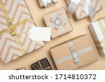 Gift Boxes Wrapped In Kraft...