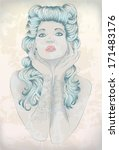 hand drawn rockabilly woman...   Shutterstock .eps vector #171483176