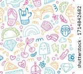 seamless pattern. cute... | Shutterstock .eps vector #1714842682