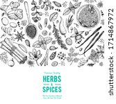 herbs and spices hand drawn... | Shutterstock .eps vector #1714867972
