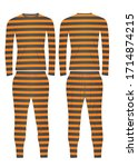 prison uniform. striped t shirt ... | Shutterstock .eps vector #1714874215