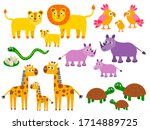 cute lion and parrot  snake and ...   Shutterstock .eps vector #1714889725