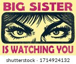 vintage big sister watching you ...   Shutterstock .eps vector #1714924132