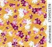 plum blossoms seamless vector... | Shutterstock .eps vector #1714931578