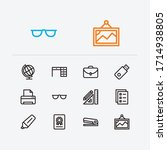 work icons set. printer and...