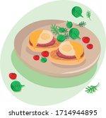 eggs benedict   illustration... | Shutterstock .eps vector #1714944895