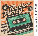 Retro party poster design. Disco music event at night club, vintage party invitation template.