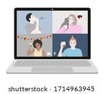 people are celebrating birthday ... | Shutterstock .eps vector #1714963945