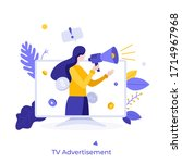 woman with megaphone or... | Shutterstock .eps vector #1714967968