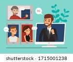 remote working with a business... | Shutterstock .eps vector #1715001238