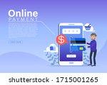 online payment concept  people... | Shutterstock .eps vector #1715001265