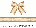 Burlap Ribbon Bow With White...