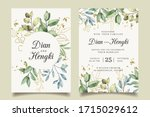elegance leaves gold wedding... | Shutterstock .eps vector #1715029612