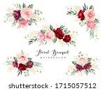 burgundy green watercolor... | Shutterstock .eps vector #1715057512
