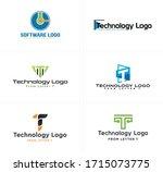 technology logo with green...   Shutterstock .eps vector #1715073775
