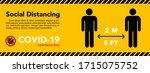 social distancing banner. keep... | Shutterstock .eps vector #1715075752