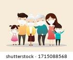 family in medical masks. family ... | Shutterstock .eps vector #1715088568
