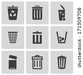 Vector Black Trash Can Icons...
