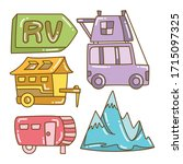 recreational vehicle and camper ... | Shutterstock .eps vector #1715097325