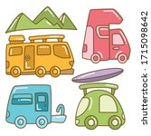 recreational vehicle and camper ... | Shutterstock .eps vector #1715098642