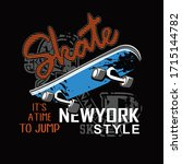 skateboard t shirt vector... | Shutterstock .eps vector #1715144782