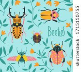doodle beetles in the grass.... | Shutterstock .eps vector #1715150755