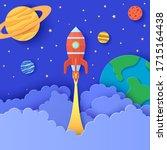 red rocket launch in space in... | Shutterstock .eps vector #1715164438