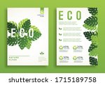 banner with green leaves eco.... | Shutterstock .eps vector #1715189758