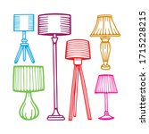 different lamps hand drawn set. ...   Shutterstock .eps vector #1715228215