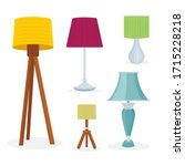 different lamps set. decorative ...   Shutterstock .eps vector #1715228218