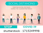 social distancing banner. stop... | Shutterstock .eps vector #1715249998