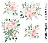 set watercolor painting flowers ... | Shutterstock . vector #1715255218