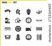 vehicle icons set with car...