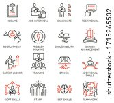 vector set of linear icons... | Shutterstock .eps vector #1715265532
