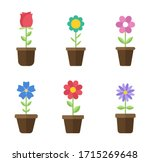 flowers in pots flat icons....