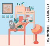 cozy home office. cute cat...   Shutterstock .eps vector #1715287885
