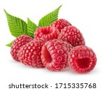 Small photo of Isolated berries. Bunch of raspberry fruits with leaves isolated on white background, with clipping path