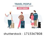 group of travel people with... | Shutterstock .eps vector #1715367808