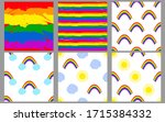 colorful rainbow. seamless... | Shutterstock .eps vector #1715384332
