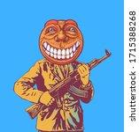 an officer with a kalashnikov... | Shutterstock .eps vector #1715388268