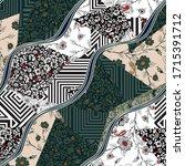 seamless flower  patchwork...   Shutterstock .eps vector #1715391712