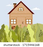 wooden house  chalet from wood...   Shutterstock .eps vector #1715446168