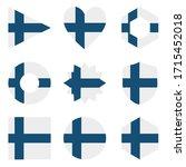 set of nine flags finland....   Shutterstock .eps vector #1715452018