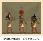 illustration of the gods and... | Shutterstock .eps vector #1715458672