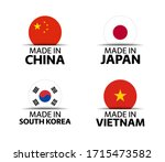 set of four chinese  japanese ... | Shutterstock .eps vector #1715473582