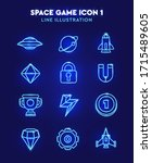 simple set of space game... | Shutterstock .eps vector #1715489605
