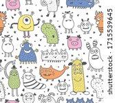 vector seamless pattern  funny... | Shutterstock .eps vector #1715539645